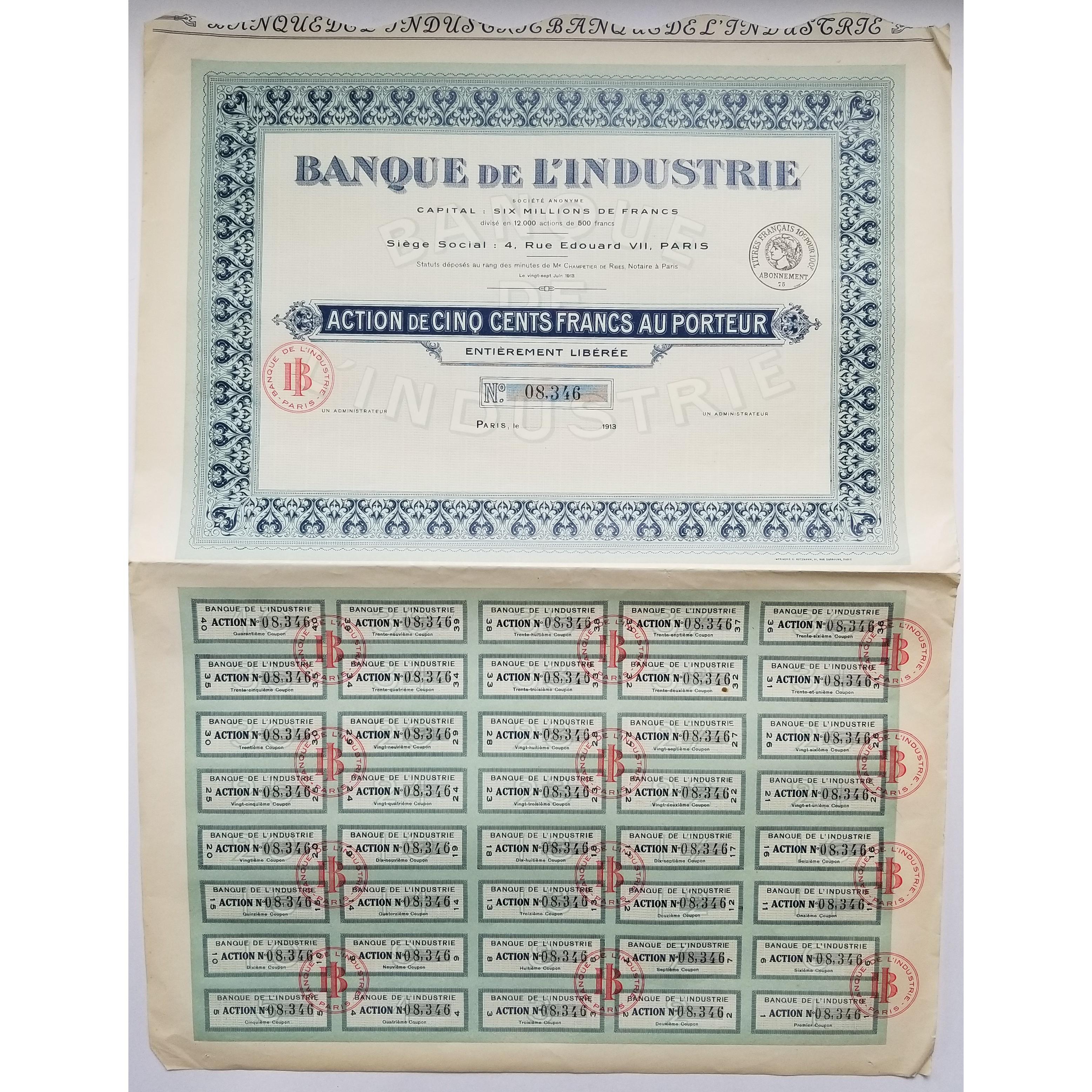 Rare Action de 500 F de la Banque de la Chaussée-d/'Antin Paris IX ème 1880